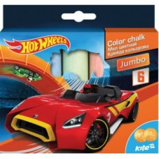 "Мел цветной Jumbo, 6 цветов ""Hot Wheels"", Kite"